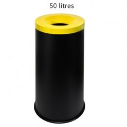 Corbeille anti-feu 50 litres avec couvercle jaune