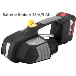 Tendeur à batterie pour cerclage de feuillards plastique