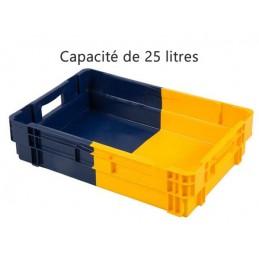 Bac euronorm empilable 25 litres hauteur 143 mm fond plein