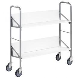 Chariot archives avec 2 étagères bois blanc