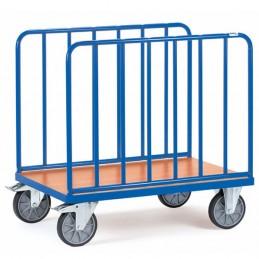 Chariot manuel 600 kg avec 2 ridelles latérales tubes acier.