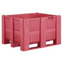 Caisse palette monobloc 1200x1000 en 3 semelles rouge