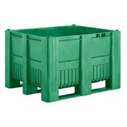 Caisse palette monobloc 1200x800 en 3 semelles vert