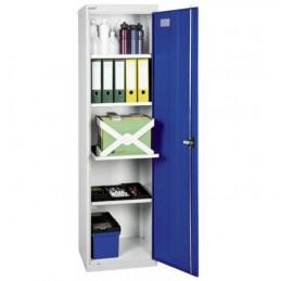 Armoire d'atelier avec 4 tablettes largeur 500 mm porte bleue.
