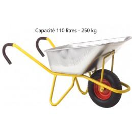 Brouette à béton ergonomique capacité 110 litres