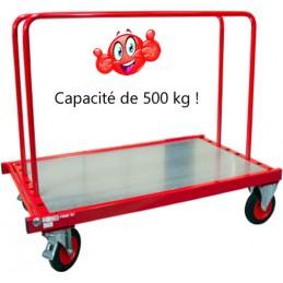 Chariot porte panneaux 500 kg avec 2 ridelles