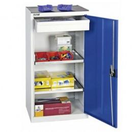 Armoire à outils 100 x 500 mm avec un tiroir intérieur porte bleue.