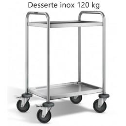 Desserte inox 304 L avec 2 plateaux 600 x 400 mm