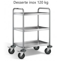 Desserte inox 304 L avec 3 plateaux 600 x 400 mm