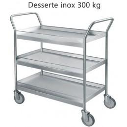 Chariot inox avec galeries 3 plateaux capacité 300 kg