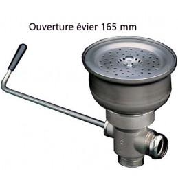 Evacuation d'évier avec levier inox pour ouverture 165 mm