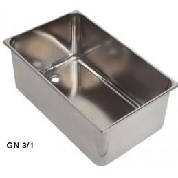 Bac inox GN3/1 bain marie avec ouverture 3/4 à souder