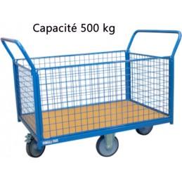 Chariot modulaire grillagé roues losange 1200 x 800 mm 500 kg