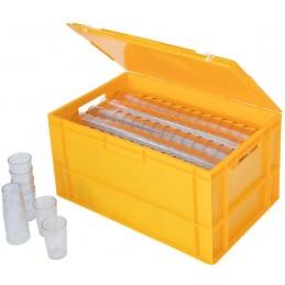 Caisse 60 litres pour gobelets avec couvercle jaune.