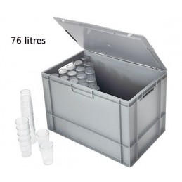 Caisse 76 litres pour gobelets avec couvercle