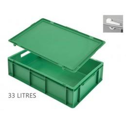 Caisse 33 litres pour gobelets avec couvercle vert.