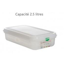 Bac alimentaire 2.5 litres GN1/3 avec couvercle profondeur 65 mm