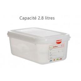 Bac alimentaire 2.8 litres GN1/4 avec couvercle profondeur 100 mm