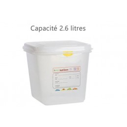 Bac alimentaire 2.6 litres GN1/6 avec couvercle profondeur 150 mm
