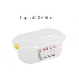 Bac alimentaire 0.6 litre GN1/9 avec couvercle profondeur 65 mm