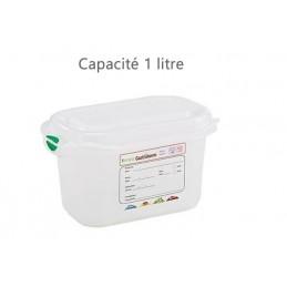 Bac alimentaire 1 litre GN1/9 avec couvercle profondeur 100 mm