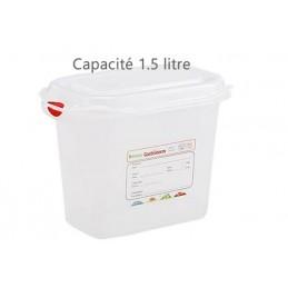 Bac alimentaire 1.5 litre GN1/9 avec couvercle profondeur 150 mm