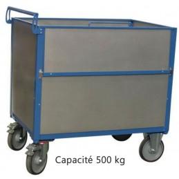 Chariot conteneur 500 kg dimensions 1000 x 700 mm