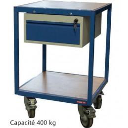 Servante atelier 2 plateaux bois 600 x 600 mm avec 1 tiroir