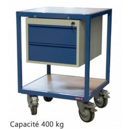 Servante atelier 2 plateaux bois 600 x 600 mm avec 2 tiroirs
