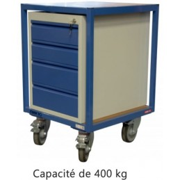 Servante atelier 2 plateaux bois 600 x 600 mm avec bloc 4 tiroirs