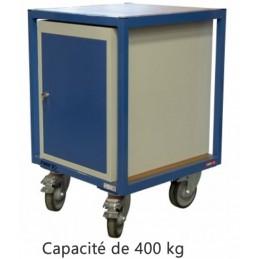 Servante atelier 2 plateaux bois 600 x 600 mm avec bloc porte