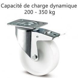 Roulette pivotante à blocage total suiveur roue polyamide