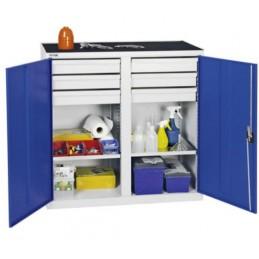 Armoire d'atelier avec 6 tiroirs et 2 tablettes bleu.