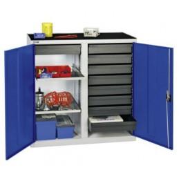 Armoire d'atelier avec 9 tiroirs et 2 tablettes bleu.