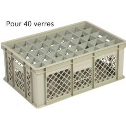 Bac pour verres 202 mm diamètre 65 mm 40 cases