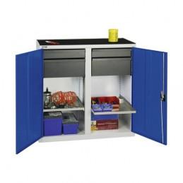 Armoire d'atelier avec 4 tiroirs et 2 tablettes bleu.