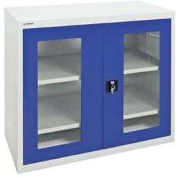 Armoires à outils avec portes vitrées hauteur 900 mm portes bleues.