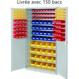 Armoire équipée de 150 bacs à bec pour une grand volume de rangement
