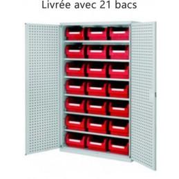 Armoire équipée de 21 bacs à bec pour une grand volume de rangement