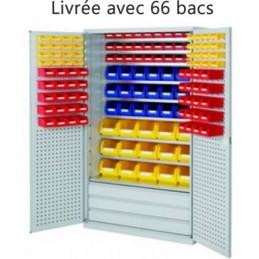 Armoire équipée de 66 bacs à bec et 3 grands tiroirs