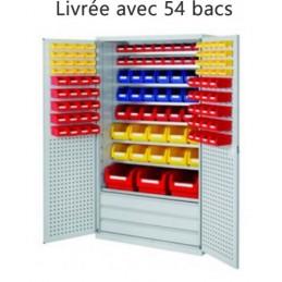 Armoire équipée de 54 bacs à bec et 3 grands tiroirs et 8 tablettes