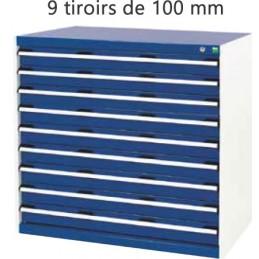 Armoire d 'atelier 9 tiroirs de 100 mm hauteur 1000 mm