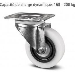 Roulette pivotante corps de roue et bandage en polyamide avec anneau central