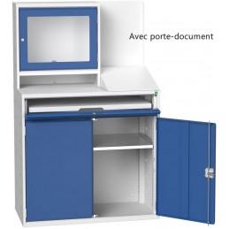 Armoire informatique pour atelier avec porte document et protection écran portes bleue.