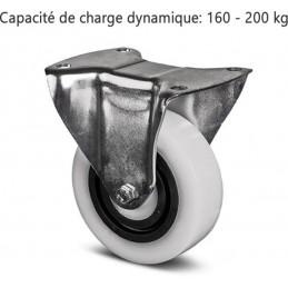 Roulette fixe corps de roue et bandage en polyamide avec anneau central