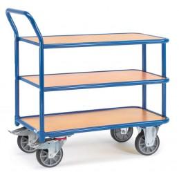 Chariot manuel 500 kg à 3 plateaux en mélaminé