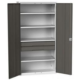 Armoire d'atelier équipée avec 4 étagères et 2 tiroirs gris.