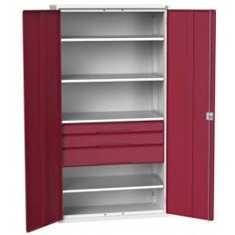 Armoire d'atelier équipée avec 4 étagères et 3 tiroirs portes rouge.