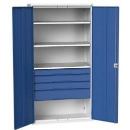 Armoire d'atelier équipée avec 4 étagères et 4 tiroirs portes bleues