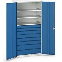 Armoire d'atelier équipée avec 3 étagères et 8 tiroirs portes bleues.
